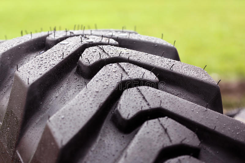 Rain drops on a tire stock images