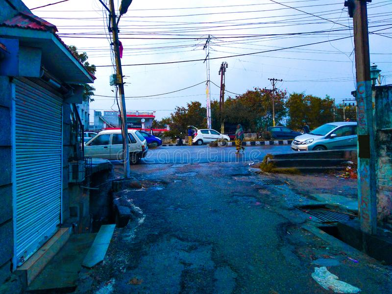 After rain environment of a street and roads royalty free stock photo