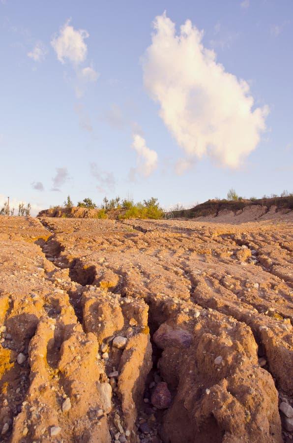 Rain erosion landscape stock image