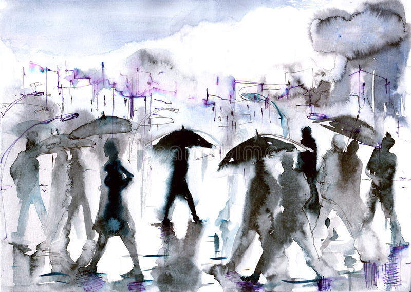 Rain. Faceless crowd of people in the city stock illustration