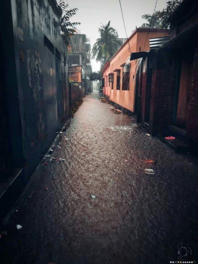 Rain fact. Rain beauty, house, water stock photography