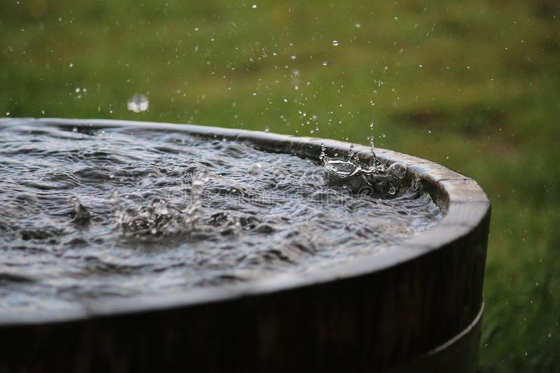 Rain is falling in a wooden barrel full of water in the garden. Splashing rain in the barrel stock photos