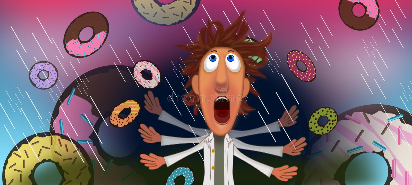 Rain of doughnuts. Rain of food in movie scene of cloudy with a chance of meatballs illustrations concept idea