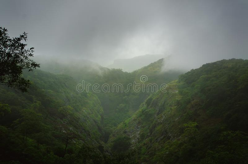 Rain forest in a middle of India. Beautiful green forest with rain. Waterfalls and amazing view from the road. stock photography
