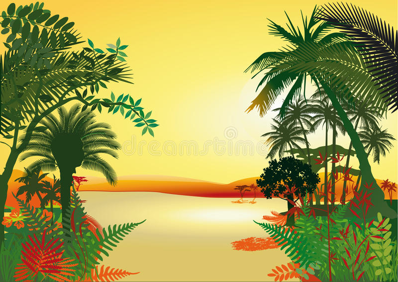Download Rain forest on the river stock vector. Image of ferns - 25804067