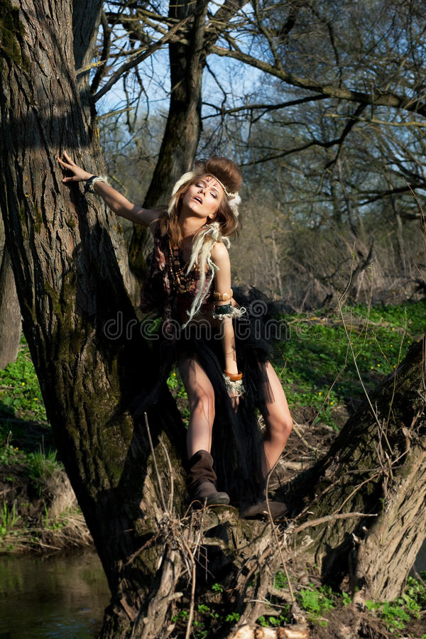 Rain Forest Scenery Nature Tribe Style Wood Stock Image