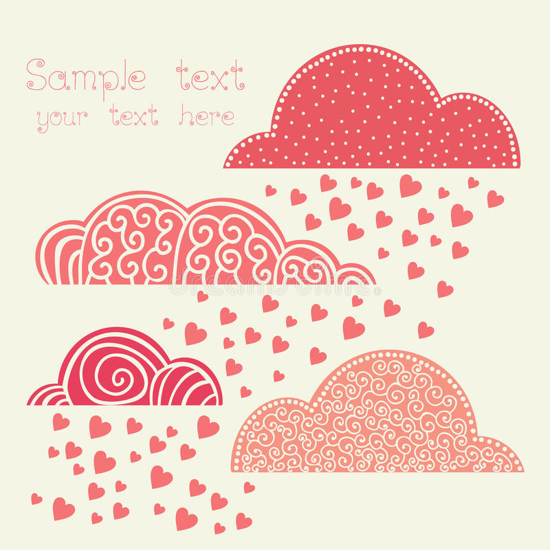 Rain of heart with clouds in pink.  royalty free illustration