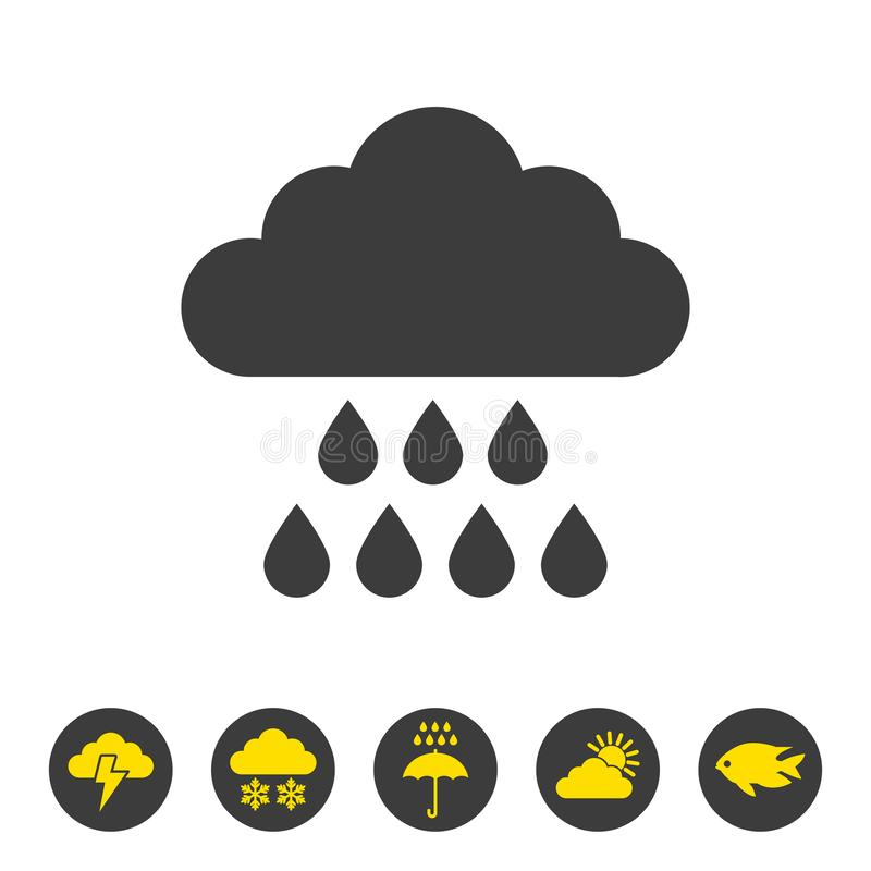 Rain icon on white background royalty free illustration