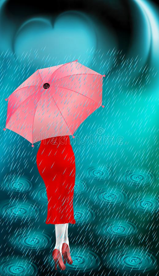 Umbrella, rainbow, clouds with a lady.. Rain of love by heart,love concept, vector illustration. many uses for advertising, hording, posters, book page, book