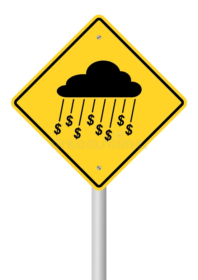 Download Rain Of Money Sign On Stick Stock Vector - Image: 8301996