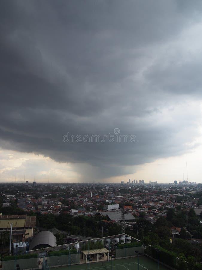 Rain over Jakarta stock image