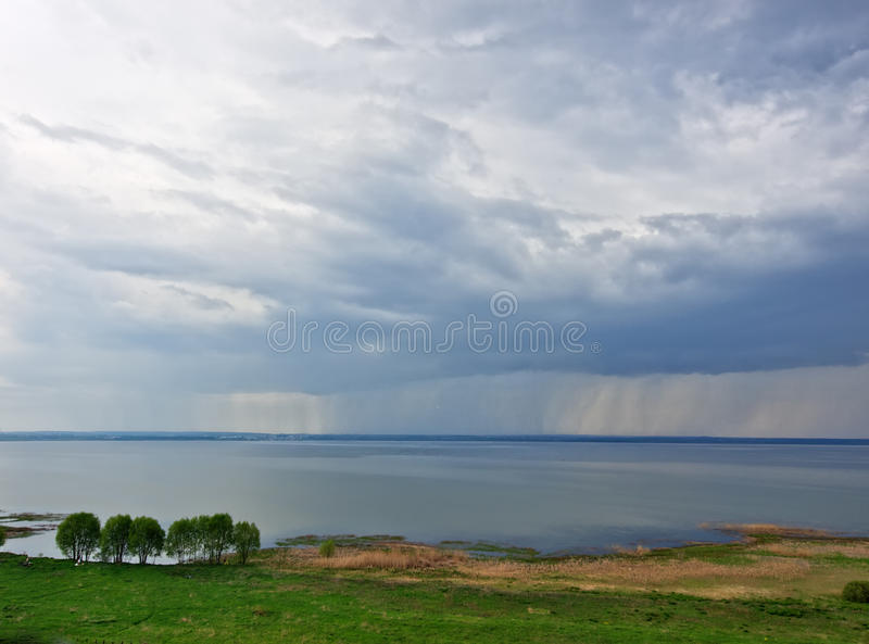 Rain Over Lake Royalty Free Stock Images