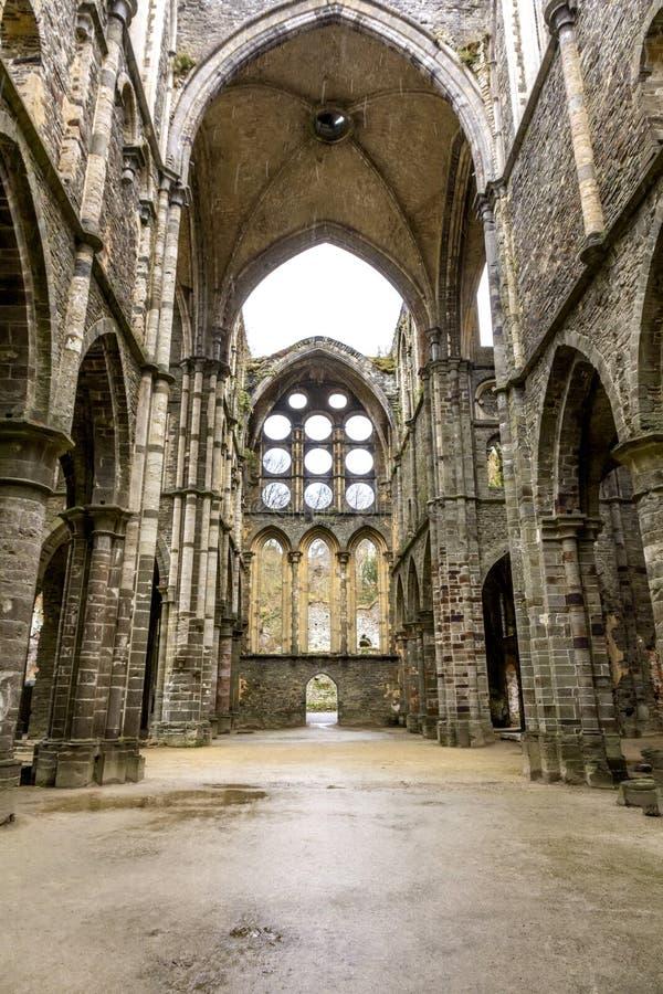Rain over Ruins of the Villers-la-ville abbey church stock photos