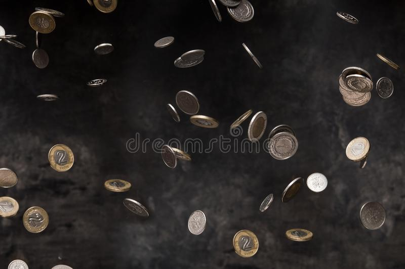 Rain of polish coins royalty free stock images