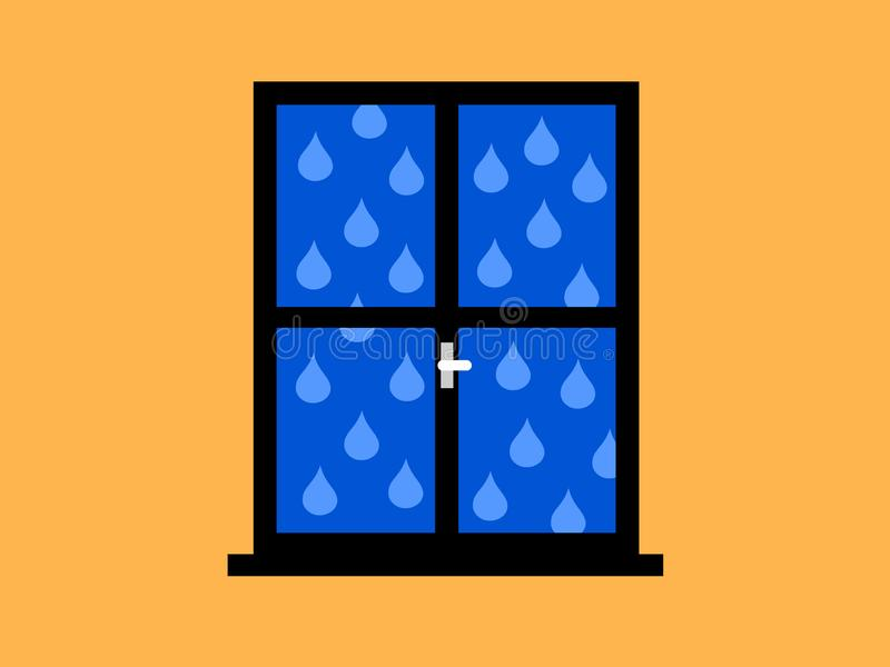 Rain and rainy weather - view from closed window in room. Raindrops are dropping outside. Interior and exterior. Vector illustration royalty free illustration