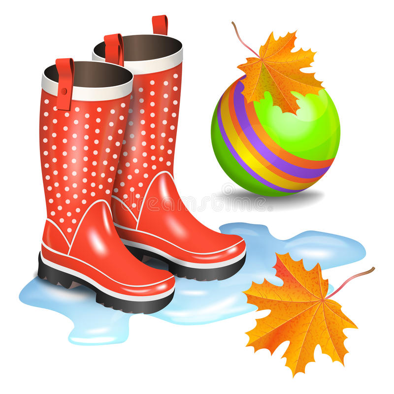 Rain red gumboots with dots in puddle, green childrens toy ball. And falling orange maple leaves. Childhood, autumn and rain concept. Realistic vector stock illustration
