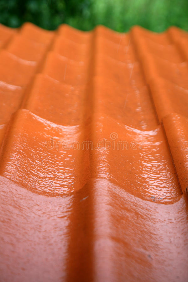 Rain on the red roof. Rainy weather by spring royalty free stock image