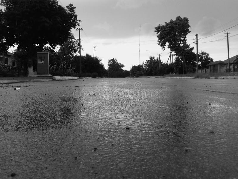 After the rain. Road royalty free stock photo