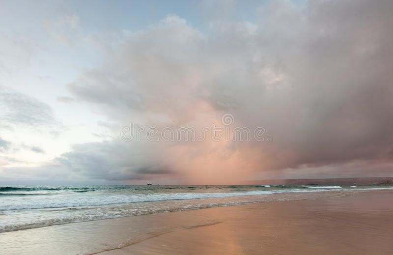 Rain storm. On a beach near Mossel Bay in South Africa royalty free stock images