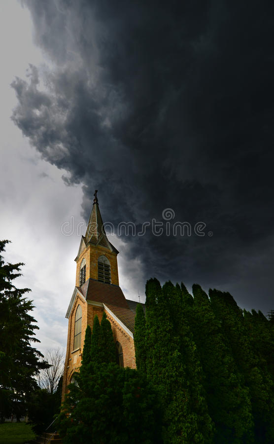Rain Storm, Church, Stormy Sky stock images