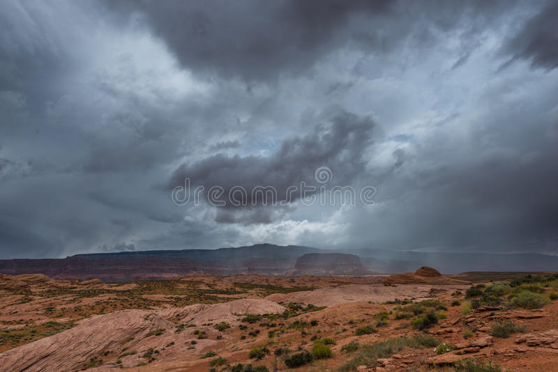 Rain Storm over the Desert Utah Landscape. Rain Storm Clouds building up over the Desert Utah Landscape stock image