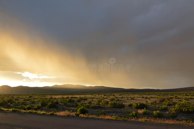 Rain Storm. Over Northern California desert royalty free stock images