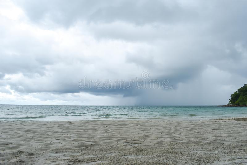Rain storm of the sea.In the evening. royalty free stock image