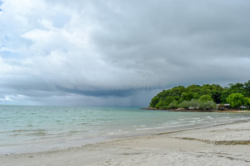 Rain storm of the sea stock image