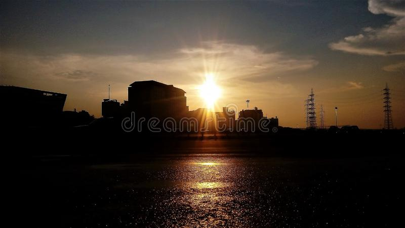 The after rain sunshine royalty free stock photography