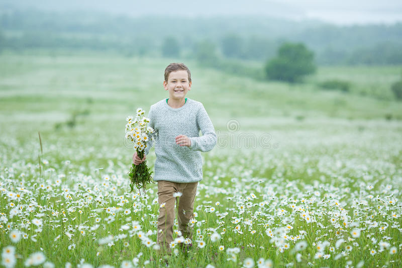 Rain and sunshine with a smiling boy holding an umbrella and running through a meadow of wildflowers dundelions chamomile daisy an. D holding bouquet stylish stock photos