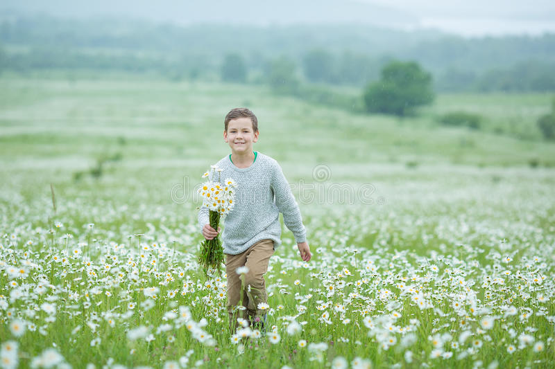 Rain and sunshine with a smiling boy holding an umbrella and running through a meadow of wildflowers dundelions chamomile daisy an. D holding bouquet stylish stock photo
