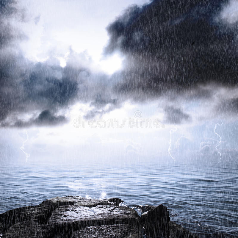 Download Rain And Thunderstorm In The Ocean Stock Photo - Image: 24838134