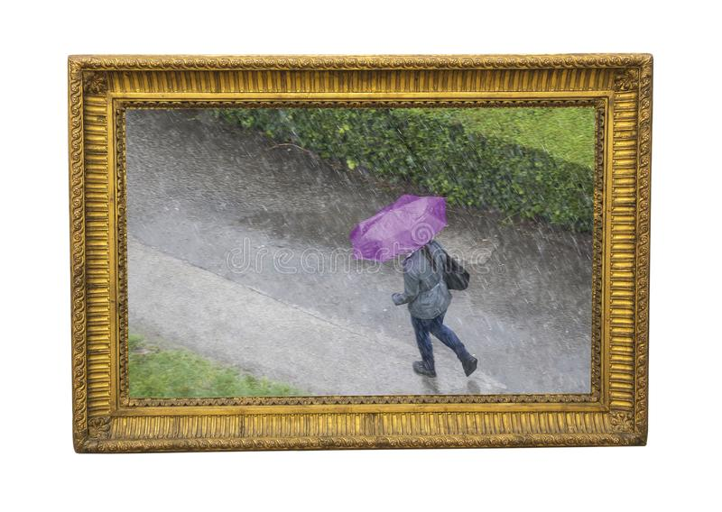 Rain time in the autumn- photograph as painting. Photograph as painting illustration made of ancient frame and picture of the girl with umbrella on the rainy day stock photo