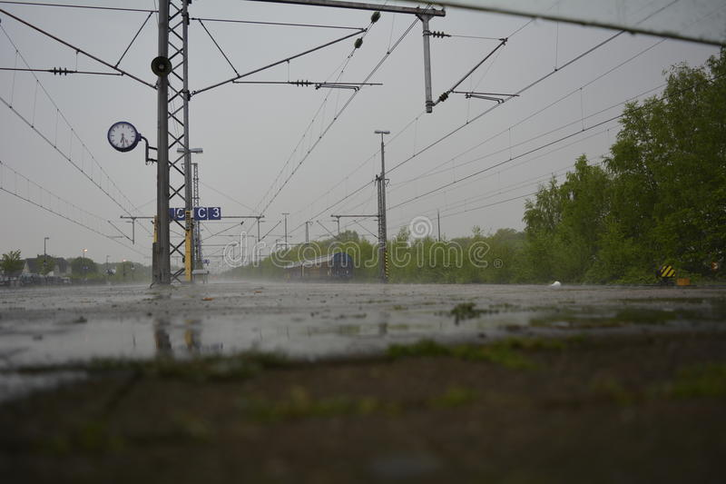 Rain on the train track stock images