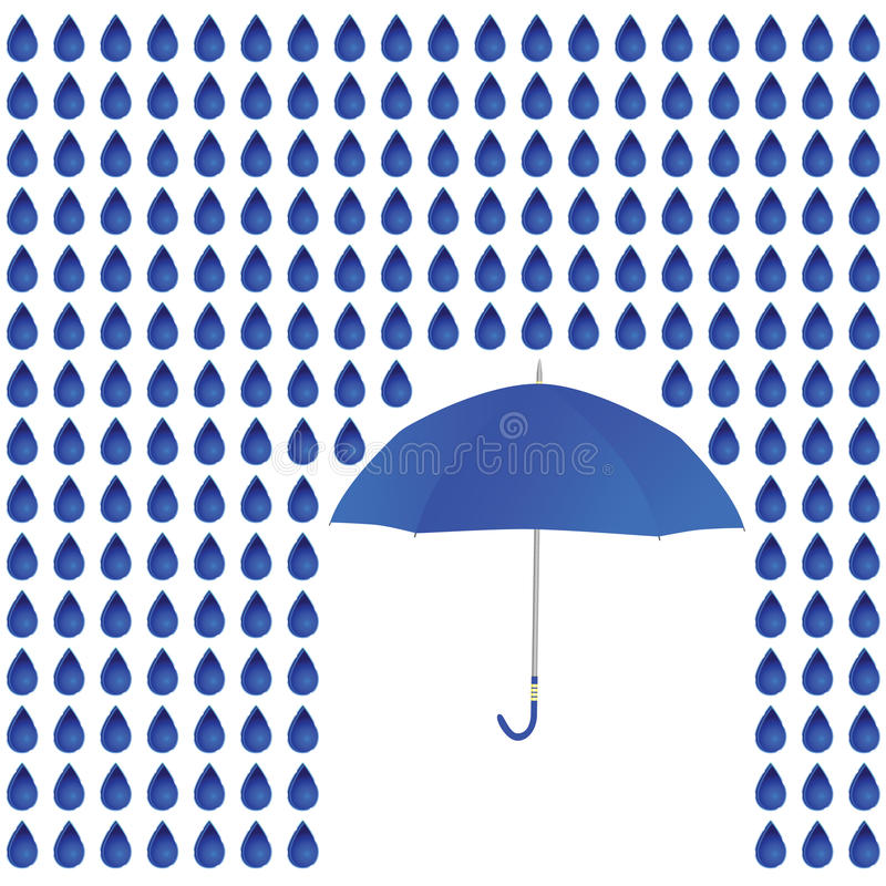 Rain and umbrella vector illustration