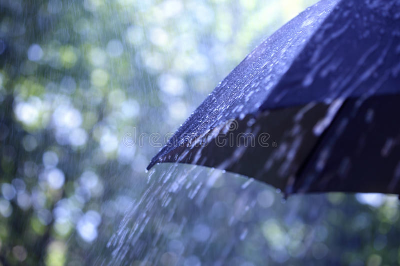 Rain on umbrella stock photography