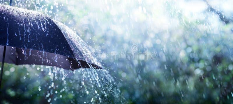Rain On Umbrella. Weather Concept royalty free stock photography