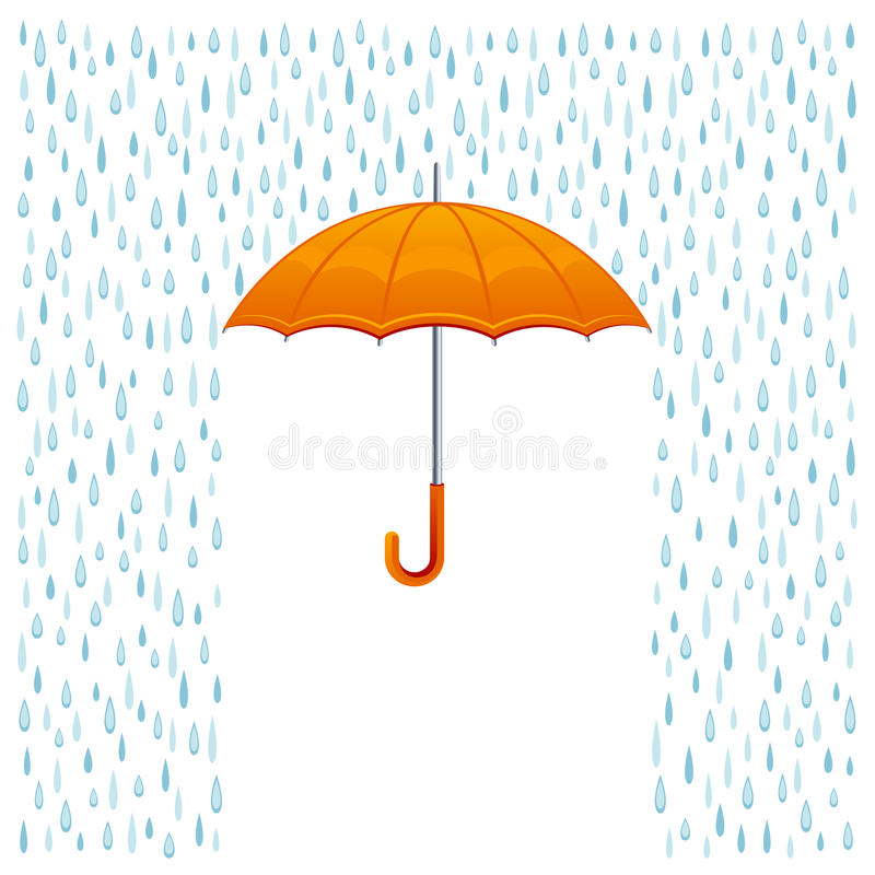 Rain and umbrella stock illustration