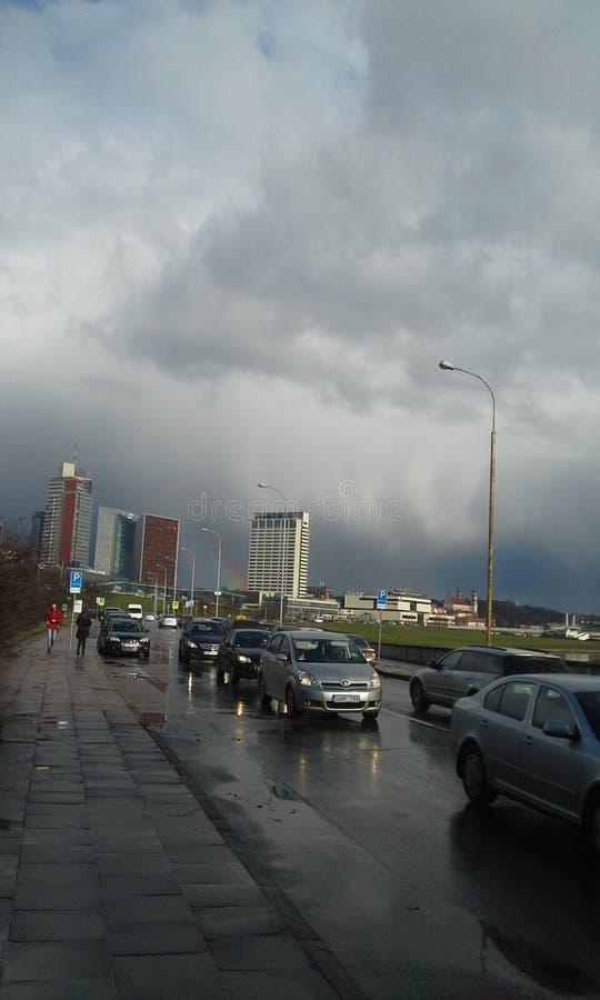 Rain in Vilnius stock photo