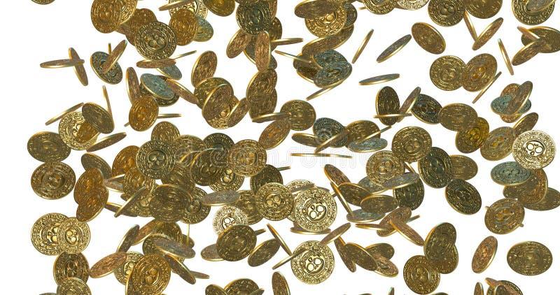 Rain of vintage gold coins. 3D render stock images