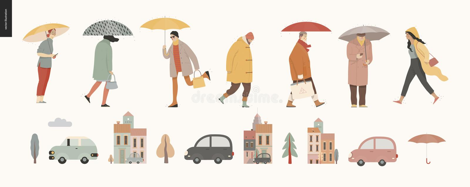 Rain - walking people set. Modern flat vector concept illustration of people with umbrella, walking or standing in the rain in the street, city houses and cars stock illustration