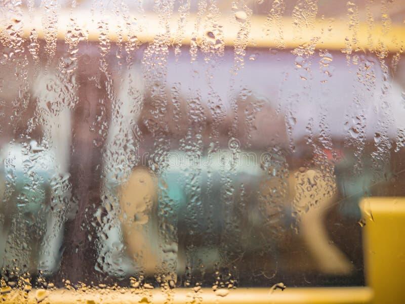 Rain water drop on the Bus window stock photos