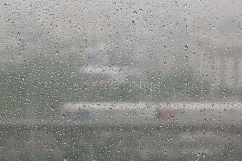 Rain water drops on blue stock image