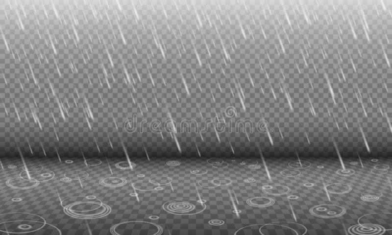 Rain with water ripples 3D effect isolated royalty free illustration