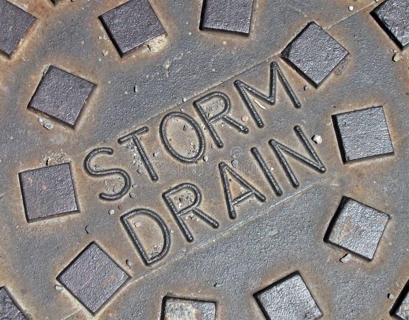 Rain water, street metal construction details, stock images