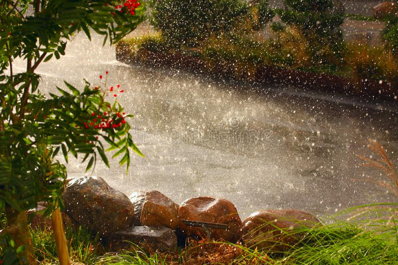 Rain weather and heavy water drops falling on the ground stock photography
