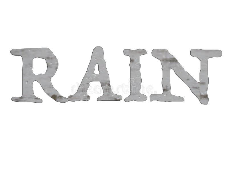 RAIN word with gray raindrops illustration stock illustration