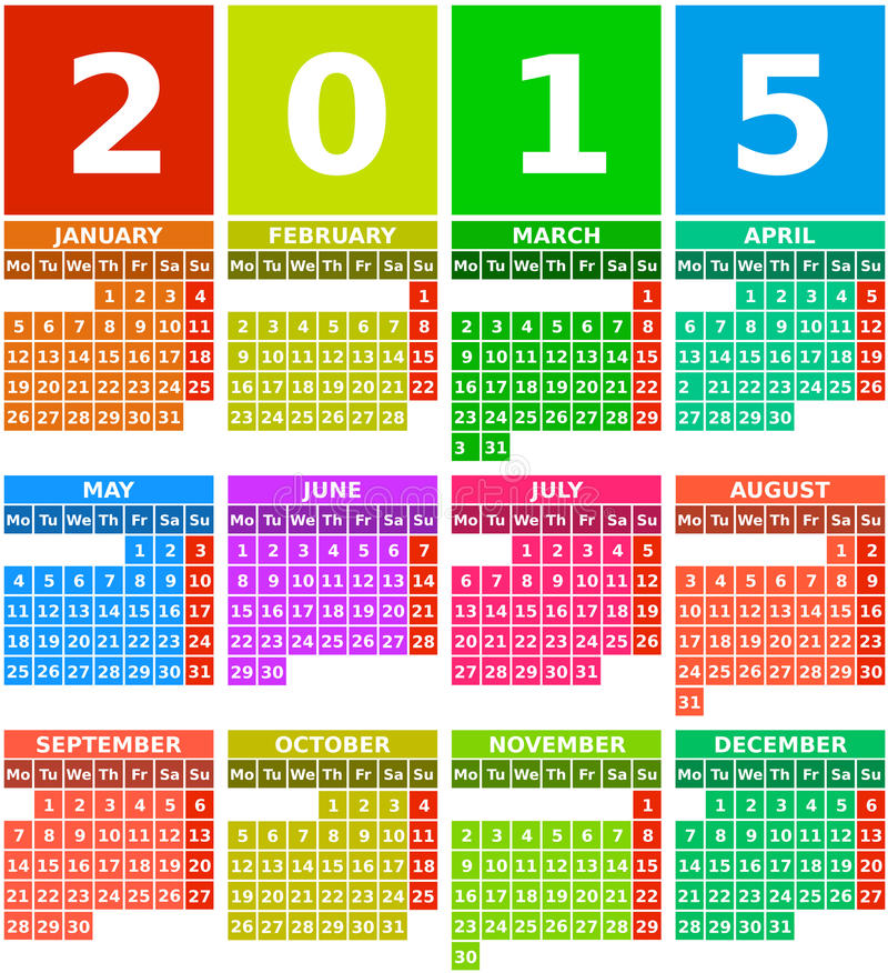 Free Rainbow 2015 Calendar In Flat Design With Simple Square Icons Royalty Free Stock Images - 37683089