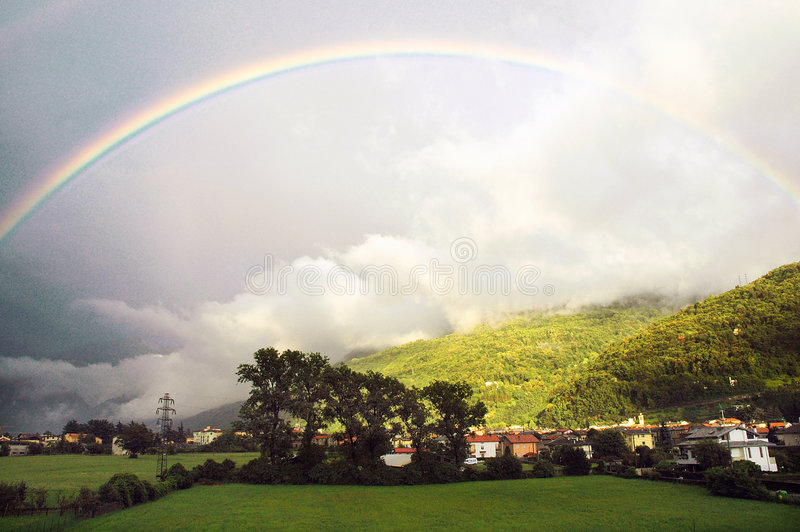 Rainbow. During a summer storm stock image