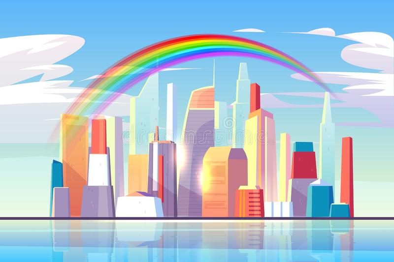 Rainbow above city skyline architecture waterfront. Rainbow above city skyline architecture near waterfront bay, modern megapolis with buildings skyscrapers stock illustration
